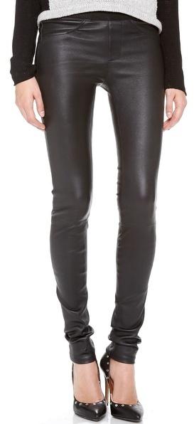 Pantalon slim en cuir noir Helmut Lang