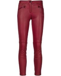 Pantalon slim en cuir rouge Barbara Bui
