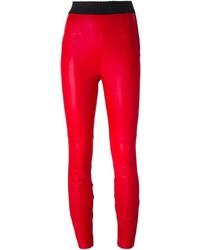 Pantalon slim en cuir rouge Dolce & Gabbana