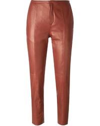 Pantalon slim en cuir rouge Forte Forte