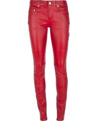Pantalon slim en cuir rouge Saint Laurent