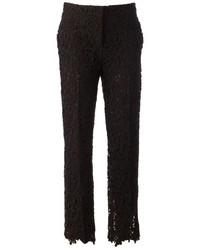 Pantalon slim en dentelle noir Valentino