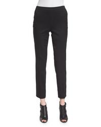 Pantalon slim en laine noir Carolina Herrera