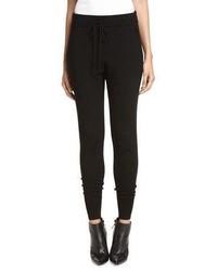 Pantalon slim en tricot noir DKNY