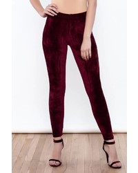Pantalon slim en velours bordeaux