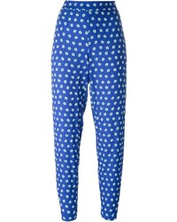Pantalon slim imprimé bleu P.A.R.O.S.H.