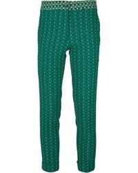 Pantalon slim imprimé vert foncé Etro