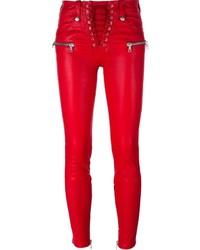 Pantalon slim rouge