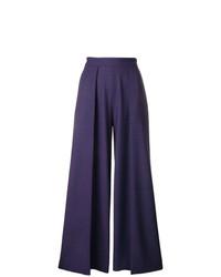 Pantalones anchos a cuadros azul marino de Talbot Runhof