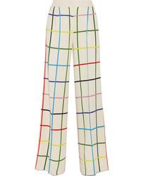 Pantalones anchos a cuadros blancos de Mary Katrantzou