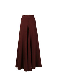 Pantalones anchos a cuadros en marrón oscuro de MM6 MAISON MARGIELA
