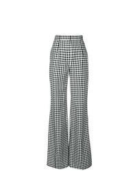 Pantalones anchos a cuadros en negro y blanco