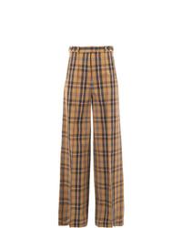 Pantalones anchos a cuadros marrónes de Rokh
