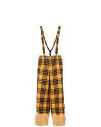Pantalones anchos a cuadros mostaza de Yohji Yamamoto Vintage
