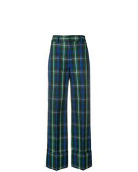 Pantalones anchos a cuadros verde oscuro de MSGM