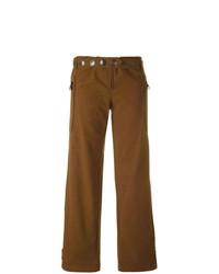 Pantalones anchos con adornos marrónes de Romeo Gigli Vintage