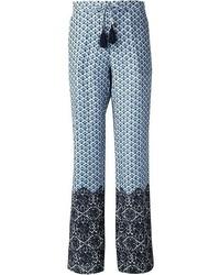 Pantalones anchos con estampado geométrico azules de Tory Burch