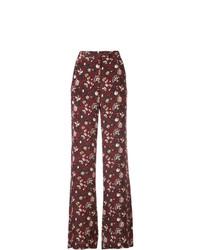 Pantalones anchos con print de flores burdeos de Veronica Beard