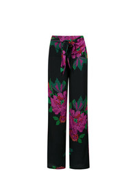 Pantalones anchos con print de flores negros de Amir Slama