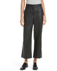 Pantalones anchos de cuero negros de Rebecca Taylor