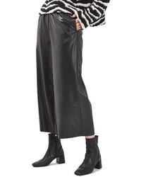 Pantalones anchos de cuero negros de Topshop