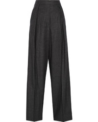 Pantalones anchos de lana a cuadros en gris oscuro de Brunello Cucinelli