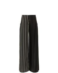 Pantalones anchos de lana de rayas verticales en negro y blanco de Esteban Cortazar