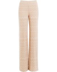 Pantalones anchos de lana rosados