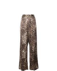 Pantalones anchos de leopardo marrónes