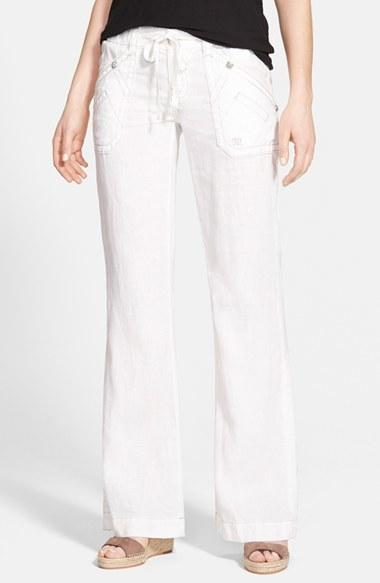 020ddd2bf ... Pantalones anchos de lino blancos de Miss Me ...