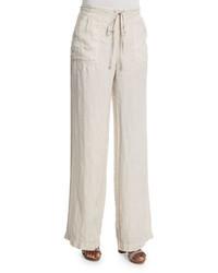 Pantalones anchos de lino en beige de Joie