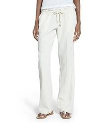 Pantalones anchos de lino en beige de Roxy