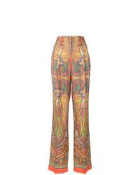 Pantalones anchos de paisley naranjas de Etro