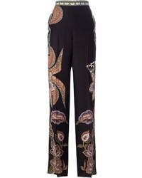 Pantalones anchos de paisley negros de Etro