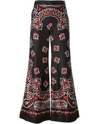Pantalones anchos de paisley negros de Moschino