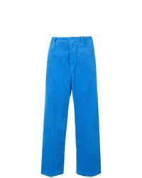 Pantalones anchos de pana azules