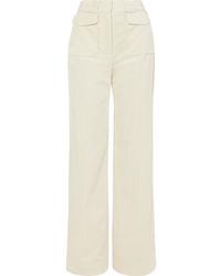 Pantalones anchos de pana en beige