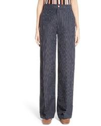 Pantalones anchos de seda azul marino de Jacquemus