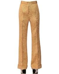 Pantalones anchos de seda dorados de Rochas