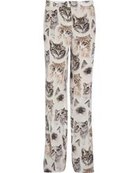 Pantalones anchos de seda estampados blancos de Stella McCartney