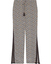 Pantalones anchos de seda estampados negros de Figue