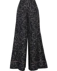 Pantalones anchos de seda estampados negros de Roksanda