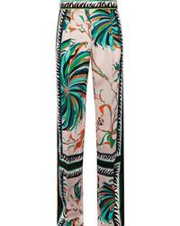 Pantalones anchos de seda estampados rosados de Emilio Pucci