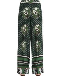 Pantalones anchos de seda estampados verde oscuro de Stella Jean