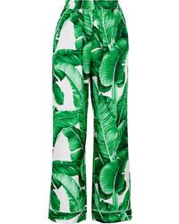 Pantalones anchos de seda estampados verdes de Dolce & Gabbana