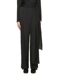 Pantalones anchos de seda negros de Lanvin