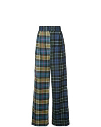 Pantalones anchos de tartán azul marino de Tibi