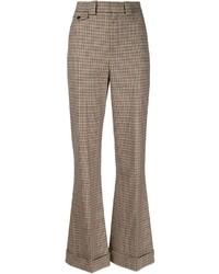 Pantalones anchos de tartán marrónes