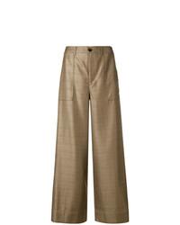 Pantalones anchos de tartán marrónes de Ganni