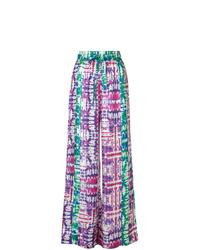 Pantalones anchos efecto teñido anudado en multicolor de Prabal Gurung